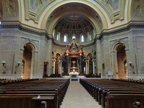 Color image of a west-facing view of the main seating area of the Cathedral of St. Paul. Photographed by Paul Nelson on July 10, 2014.