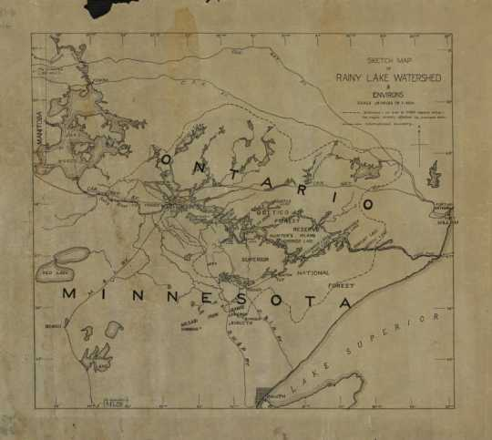 Hand-drawn 1920s map of the Rainy Lake watershed in both Minnesota and Ontario, possibly drawn by Ernest Oberholtzer, showing the 14,500 square miles that would have been effected by Edward Backus' proposed dams. Used with the permission of the Oberholtzer Foundation.