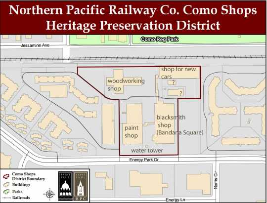 Map of the Como Shops Heritage Preservation District produced by the City of St. Paul; annotated in May 2017.