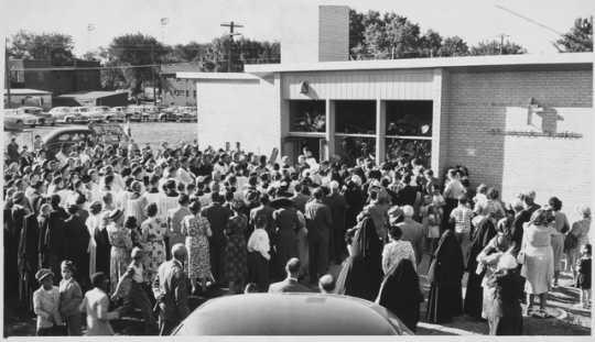 photograph of crowd at school dedication