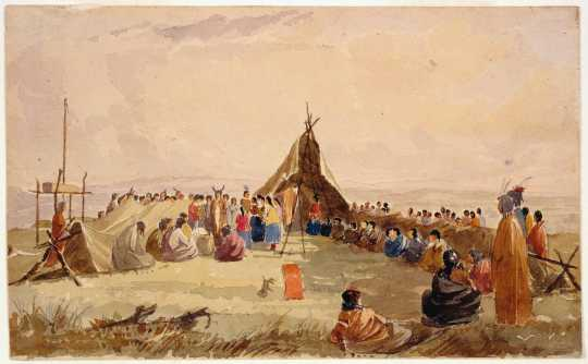 Water color painting of a Medicine Dance of the Dakota, 1849. Painting by Seth Eastman.