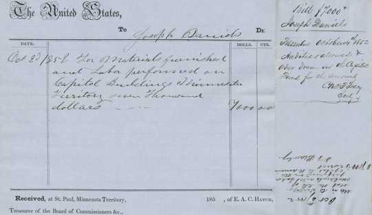 Scan of the receipt of payment to John Daniels dated October 2, 1852 for work rendered on the capitol.