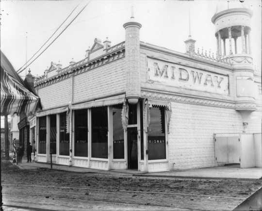Photograph of John Haas's Midway saloon, Moorhead, ca. 1890s.
