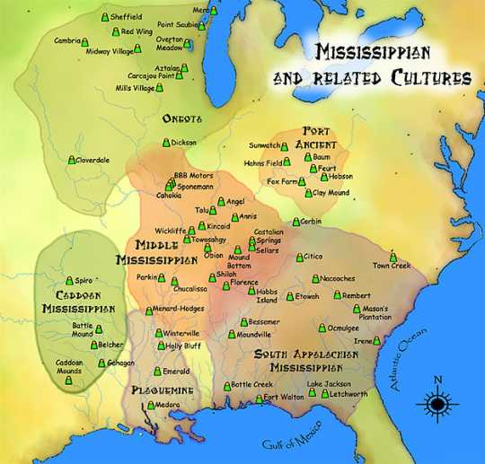 Map of Mississippian cultures