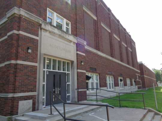 Color image of the Monroe Junior High School auditorium in St. Paul designed by Clarence Wigington and built in 1940. Photographed by Paul Nelson on August 14, 2014.