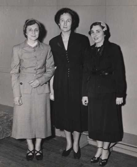 Black and white photograph of Mount Sinai Hospital Association Auxiliary leaders (left to right) Mrs. Louis Gross, Mrs. Charles Penarsky, and Mrs. Sima Meshbesher, 1950.
