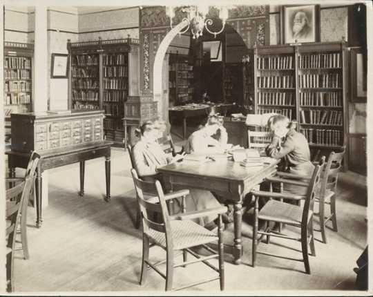 Students in library, Mankato Normal School