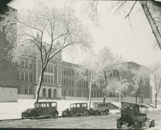 Old Main in winter, Mankato State Teachers College