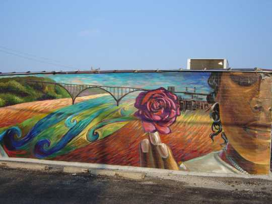 Color image of the Mural La Guadalupana, a mural painted on the exterior of a building in St. Paul's West Side, 2009. Photographed by Rosa Tock.