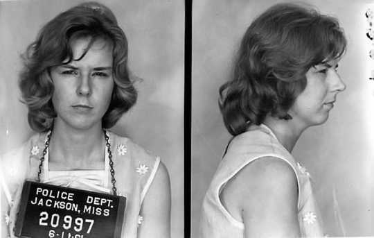 Freedom Rider Claire O'Connor photographed after her arrest by the Jackson Police Department in Jackson, Mississippi on July 11, 1961.