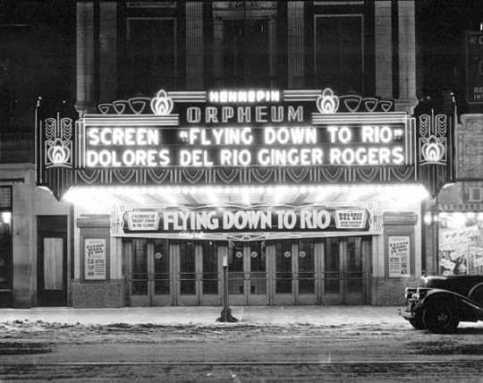 Photograph of the Orpheum Theatre, c.1930, as it appeared when the Andrews Sisters won a talent contest that launched them on the vaudeville circuit.