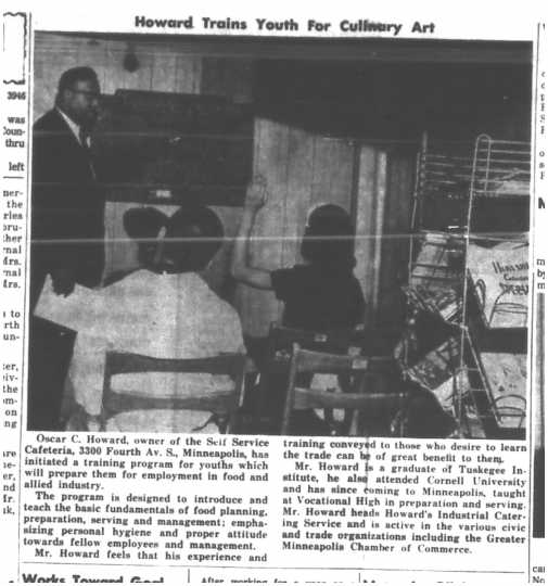 Training classroom at Howard's Self-Service Cafeteria. Published in the Minneapolis Spokesman, March 4, 1965. Oscar C. Howard papers, 1945–1990 (P1842), Cafeteria and Industrial Catering Business, Manuscripts Collection, Minnesota Historical Society.