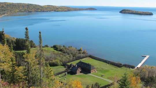 Bird's-eye view of the reconstructed Grand Lodge on Grand Portage Bay