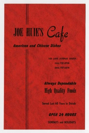 Joe Huie's Café menu
