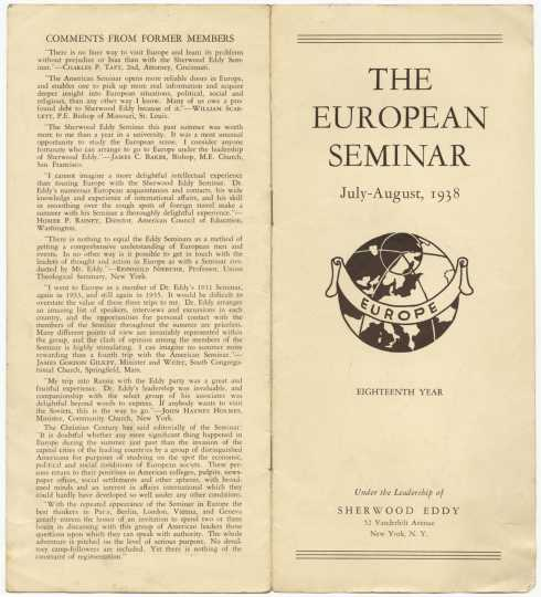 """Color scan of  """"The European Seminar, July-August, 1938"""" pamphlet."""