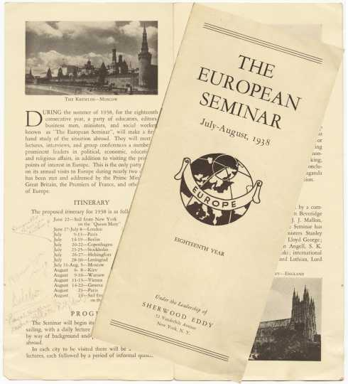 "Color scan of ""The European Seminar, July-August, 1938"" pamphlet."