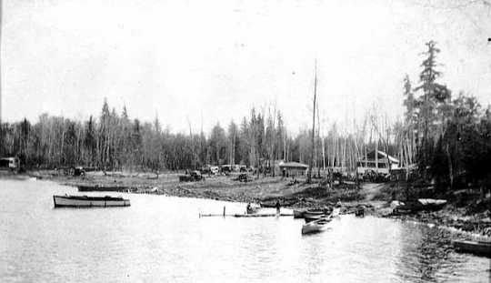 Gappa Landing, on Lake Kabetogama, Virginia and Rainy Lake Lumber Company, ca. 1920.