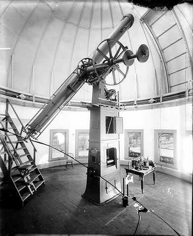 View of telescope, Goodsell Observatory, Carleton College, Northfield