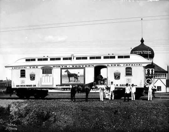 Dan Patch with his private car (from train)