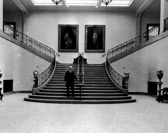 Walker Art Gallery; T.B. Walker standing on Grand Stairway, Minneapolis