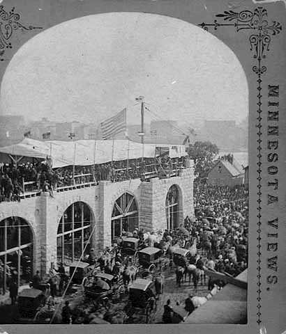 Laying the cornerstone of the Exposition Building, Minneapolis