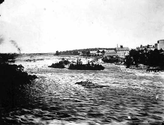 The rapids of St. Anthony in 1869 before break in tunnel
