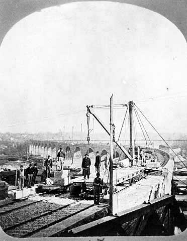 Stone Arch Bridge as it neared completion, Minneapolis