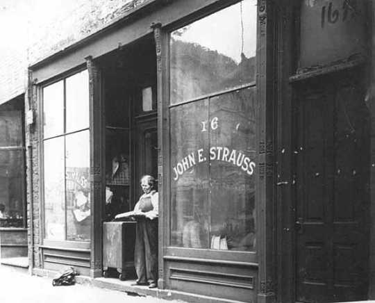 John E. Strauss, Sr. in front of Strauss Skate Shop