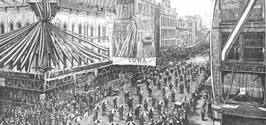 Delegates march up Nicollet Avenue, Minneapolis