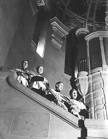 Choir boys with palm leaves, Basilica of St. Mary