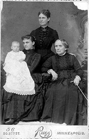 Mahala Fisk Pillsbury with her mother, daughter, and grandson