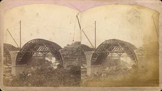 Stone Arch Bridge under construction, Minneapolis