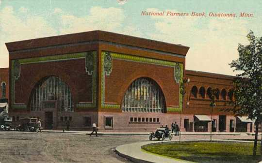 A color postcard of National Farmers Bank of Owatonna, c.1920