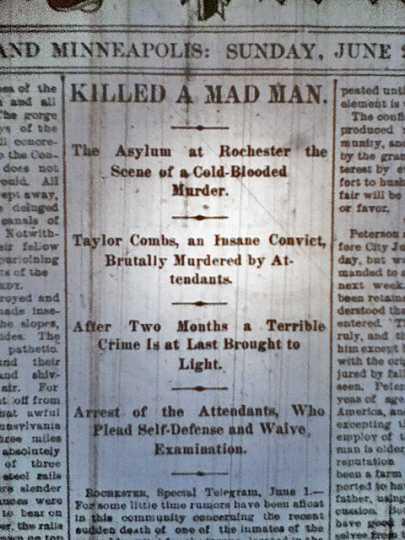 Headline of a June 2, 1889 St. Paul Pioneer Press story describing Taylor Combs's killing.