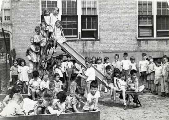 Black and white photograph of the playground at the Jewish Educational Center in St. Paul, 1946.