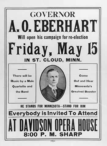 Governor A.O. Eberhart will open his campaign for re-election