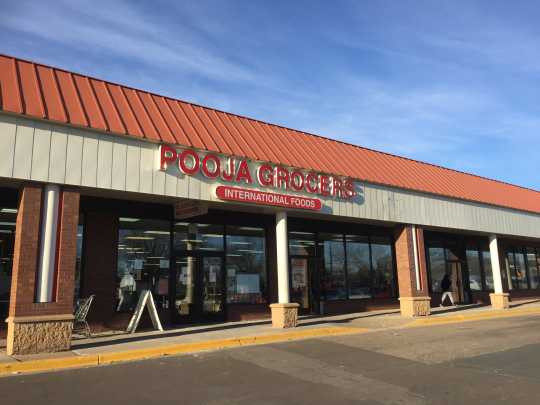 Color image of Pooja Grocers, 855 45th Avenue Northeast, Minneapolis. Photographed by Preeti Mathur in March 2017.