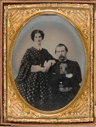 Black and white photograph of Josias and Louisa King, c.1858.