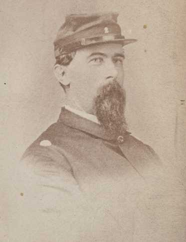 Black and white photograph of the adjutant of the First Minnesota Volunteer Infantry Regiment Josias King, c.1863