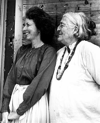 Black and white photograph of Meridel Le Sueur (right) with writer and poet Molly Culligan (left), 1980.