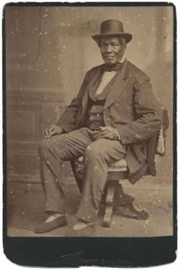 Sepia-colored photograph of Charles Bonga