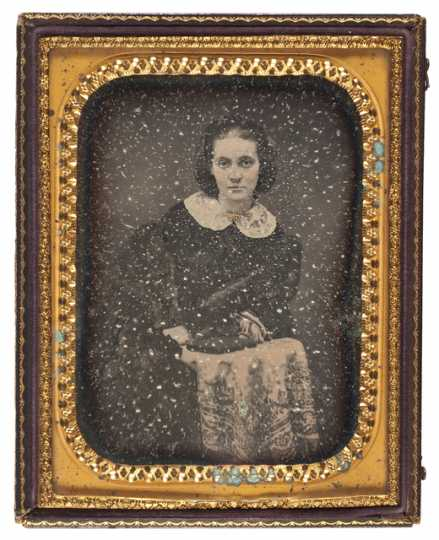Black and white daguerreotype of Sarah Jane Steele Sibley, wife of Henry H. Sibley, c.1848.