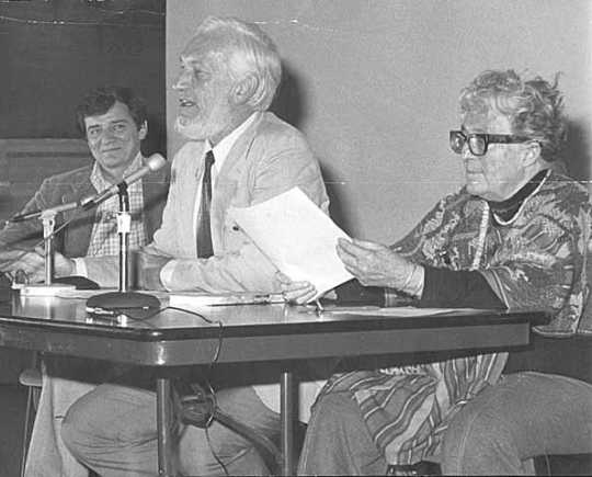 Black and white photograph left to right: Gerald Vizenor, Chester Anderson, and Meridel Le Sueur, c.1974.