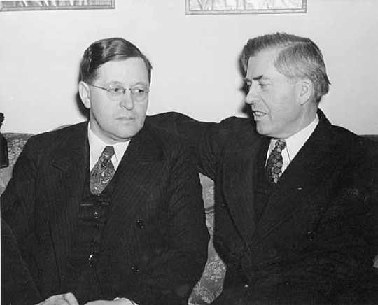 Black and white photograph of Governor Elmer Benson with Vice President Henry Wallace, c.1939.