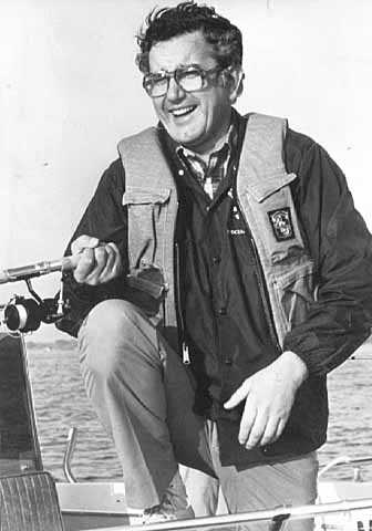 Black-and-white photograph of Minnesota governor Rudy Perpich at the Minnesota fishing opener in June of 1977.