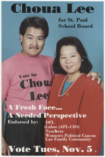 St. Paul School Board candidate Choua Lee with her husband, 1991.