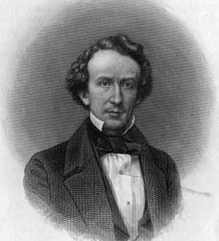Black and white engraved portrait of Henry M. Rice, c.1860.