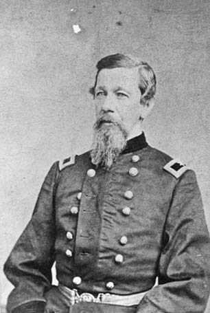Black and white photograph of General Alfred H. Sully (here as a colonel, c. 1862) commanded the Northwest Indian Expeditions of 1864 and 1865.