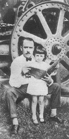 Black and white photograph of John T. Bernard and his daughter, Marie, c.1930s.