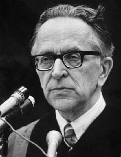 Black and white photograph of Harry Blackmun during his Supreme Court years, ca. 1975.